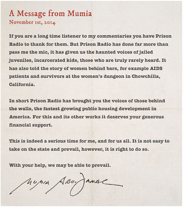 Note from Mumia